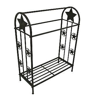 36 Inch Tall Western Stars Rustic Brown Metal Quilt Rack Stand