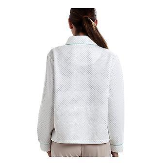 Camille Womens White Bed vest met een blauwe stip-Print