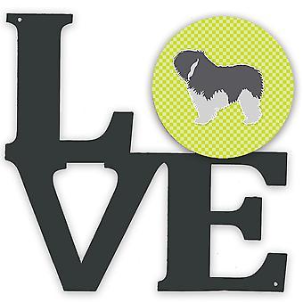 Polish Lowland Sheepdog Dog Checkerboard Green Metal Wall Artwork LOVE
