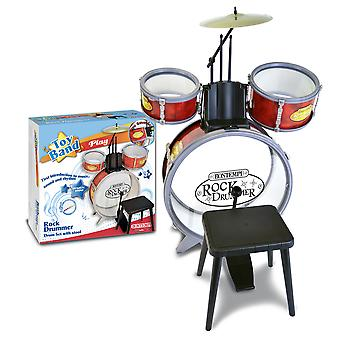 Bontempi Rock Drummer Drum Set 4 PC avec Stool Red