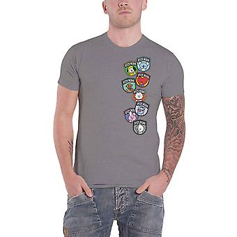 Official BT21 T Shirt BTS Hero Badges K-Pop Koya Rj Shooky Official Unisex Grey