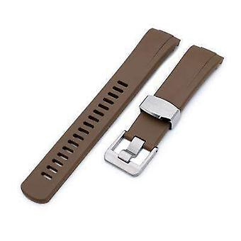 Strapcode rubber watch strap 22mm crafter blue - brown rubber curved lug watch band for seiko turtle srp777