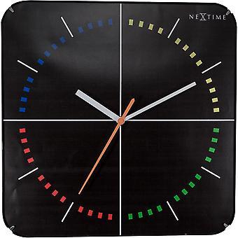 NeXtime - Wall clock- Ø 35 cm – Glass – Dome shaped glass- Black – '4 Seasons'