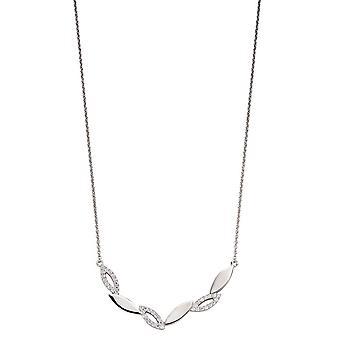 Fiorelli Silver & Cz Navette Zigzag Necklace