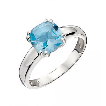 Joshua James Radiance Silver & Blue Topaz Cushion Cut Ring
