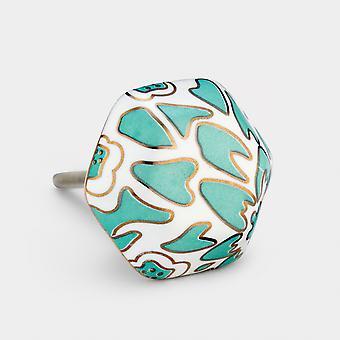 Ceramic Door Knob - Green / White / Gold