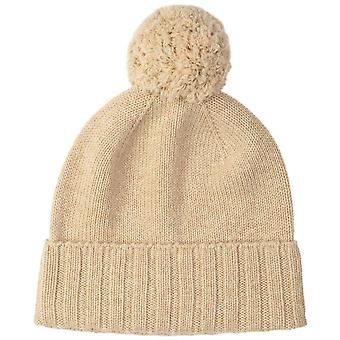 Johnstons of Elgin Seamless Cashmere Jersey Pom Pom Beanie - Natural Beige