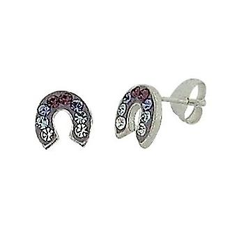 TOC Girls Sterling Silver Purple Crystal Set Horseshoe Stud Earrings