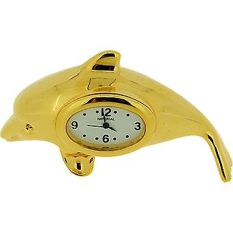Miniature Gold Plated Free Standing Dolphin Novelty Collectors Clock IMP1062