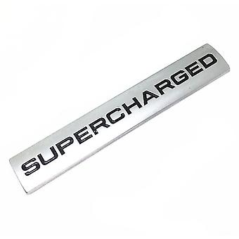 Silver Chrome/Black Range Rover & Land Rover Supercharged Badge Emblem 110mm x 20mm