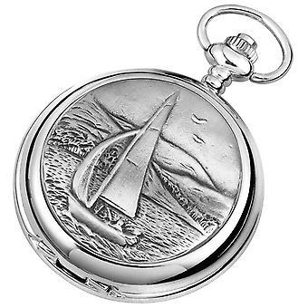 Woodford förkromade segling dubbla Full Hunter skelett fickur - Silver