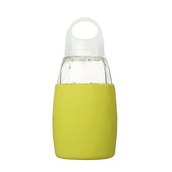 Glazen waterfles met siliconen sleeve 560ml in geel