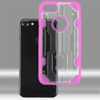 Asmyna Chali hybridi tapauksessa iPhone SE2/8/7 - läpinäkyvä kirkas / läpinäkyvä kuuma vaaleanpunainen