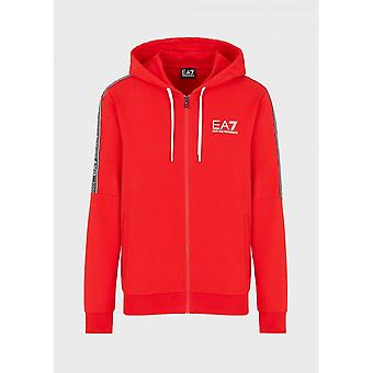 EA7 by Emporio Armani Cotton Zip Up Red Hoodie