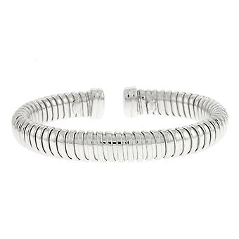 925 Sterling Silver Bangle 9.5mm With Steel White Cuff Bracelet Dome High Polish Jewelry Gifts for Women