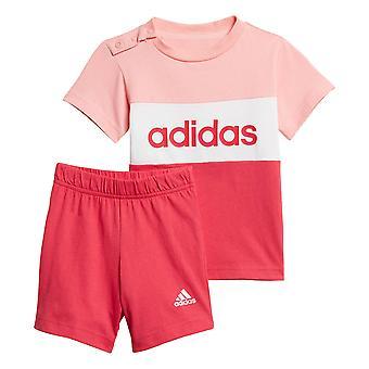 adidas Infant Kids Girls Colourblock T-Shirt & Short Summer Set Pink/White