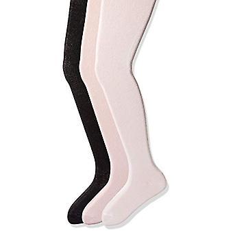 Essentials   Girls' 3-Pack Cotton Tights, White/Pink/Black, 12-14