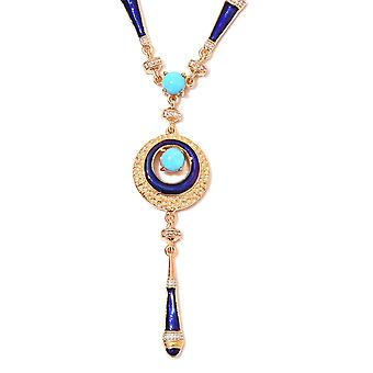 Sleeping Beauty Turquoise Bead Strand Necklace 14ct Gold Plated Sterling Silver