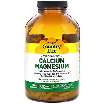 Country Life, Target-Mins Calcium Magnésium with Vitamin D Complex, 360 Vegan Ca