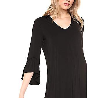 Brand - Lark & Ro Women's Matte Jersey Three Quarter Sleeve Open Neck Dress, Black, Medium