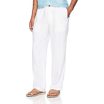 28 Palms Men's Relaxed-Fit Linen Pant with Drawstring, Bright White, Large/32...