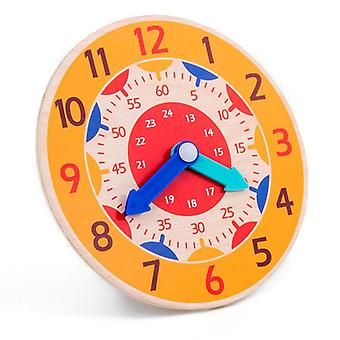 Montessori Educational Wooden Clockhour Minute Second Cognition Colorful Clocks Early Learning Kids Toys For Children Gift (random Color)