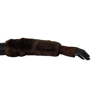 Dolce & Gabbana Brown Elbow Length Finger Less Fur Gloves