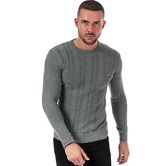 Men's Luke 1977 Morden Cable Knit Jumper en gris