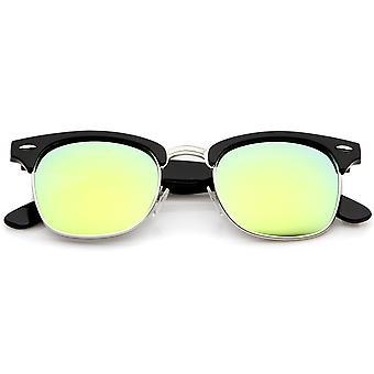 Premium Half Frame Colored Mirror Lens Horn Rimmed Sunglasses 50mm