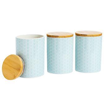 Nicola Spring 3 Piece Geometric Patterned Biscuit Barrel Set - Large Porcelain Kitchen Storage - Electric Blue - 14.5cm