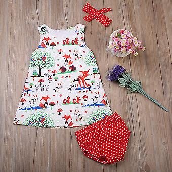 Newborn Baby Clothes, Floral Headband Cartoon Dress Dot Shorts