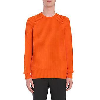 Neil Barrett Bma675vf61717 Men's Orange Acrylic Sweater