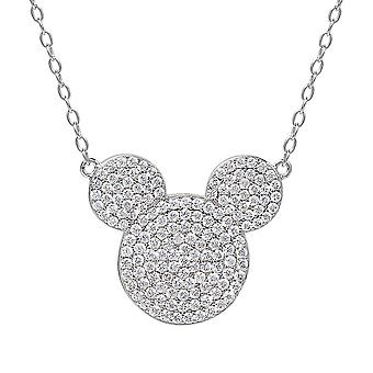 Mickey Mouse Head Sterling Silver Pendant Necklace