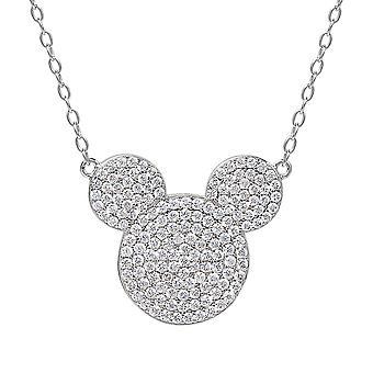 Mickey Mouse Hoved Sterling Sølv Vedhæng halskæde
