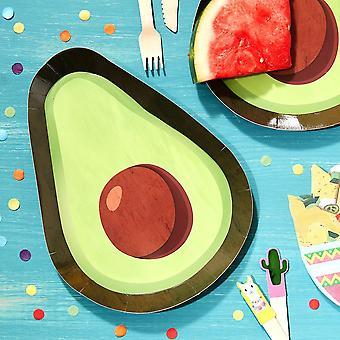 Viva La Fiesta Paper Plates Avocado x 8 Mexican Party