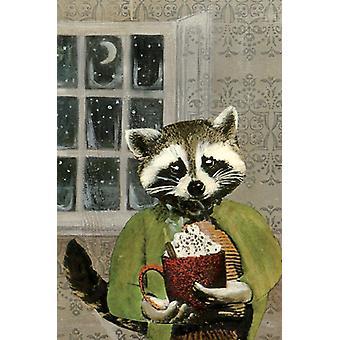 Hot Cocoa Raccoon Card