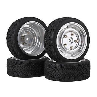 4x RC1:10 High Grip Rubber Tire + Zilver Lichtmetalen velg w/schroef voor on road auto