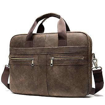 Men's Echtes Leder Laptop Business Tote Schultertasche
