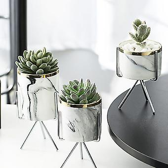 Nordic, Marble Pattern-ceramic Flowerpots With Iron Rack
