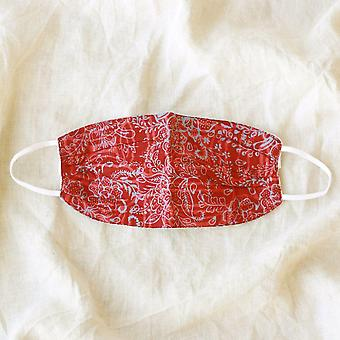 Rosetta 3-ply Vintage Batik Pleated Face Mask, In Red