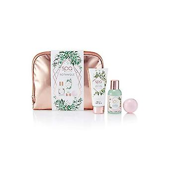 Style & Grace Spa Botanique Cosmetic Bag Gift Set 100ml Body Wash + 100ml Body Lotion + 55g Bath Fizzer + Cosmetic Bag