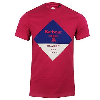 Barbour beacon men's cerise diamond t-shirt
