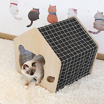 Pine Wood Cat House Furniture Shelter Condo With Cushion Pad Bed In/outdoor