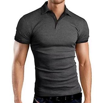 Heren Polo Shirt, Zomer Korte Mouw, Turn-over Kraag Slanke Tops, Casual