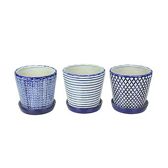 Set of 3 Classic Country Blue and White Planter Pots With Saucers 7 Inches High