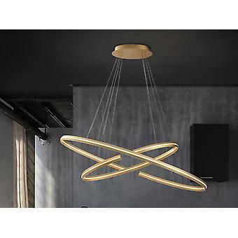 Lampe pendentif LED intégrée dimmable, or brossé