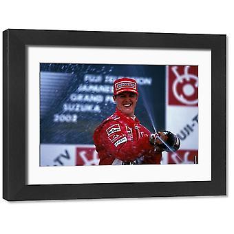 Mistrzostwa świata Formuły 1: Zwycięzca wyścigu Michael Schumacher Ferrari. Duże zdjęcie w ramce. Wyścigu.