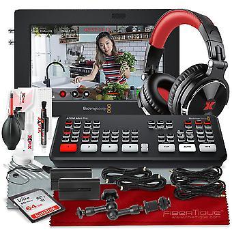 Blackmagic design atem mini pro hdmi live switcher deluxe bundel klaar voor streaming met hoofdtelefoon, recorder, 64 gb, kabels, reinigingsset en meer