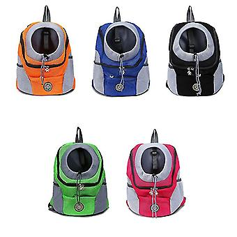 Double Shoulder Portable Travel Backpack Outdoor Pet Dog Carrier Bag Pet Dog Front Bag Mesh Backpack