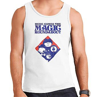 The Magic Roundabout Retro Blue Tone Diamond Men's Vest